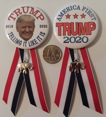 "2 -2 1/4"" Donald Trump 2020 re-election badge button pin Campaign Political"