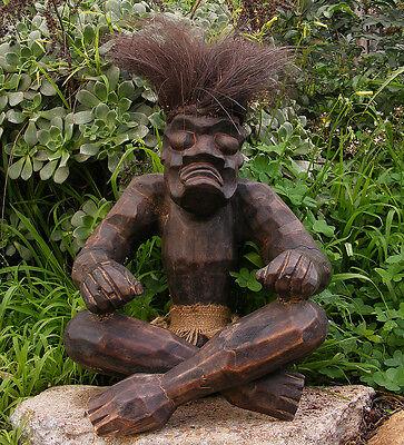 """Tribal Asmat Tiki Statue Sitting Wood Carving 14"""" x 12"""""""
