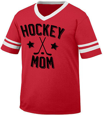 Hockey Mom Parent Mother Mommy Child Kid Sticks Puck My Men's V-Neck Ringer Tee ()