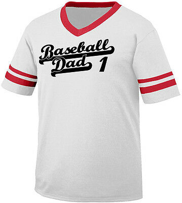 Baseball Dad 1 Parent Father Child Kid Daddy Team Coach Men's V-Neck Ringer Tee ()