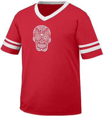 Skull Floral Sugar Outline Heart Dia De Los Muertos Day Men's V-Neck Ringer Tee