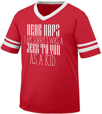 Dear Naps Sorry I Was A Jerk To You As A Kid Sleep Child Men's V-Neck Ringer Tee ()
