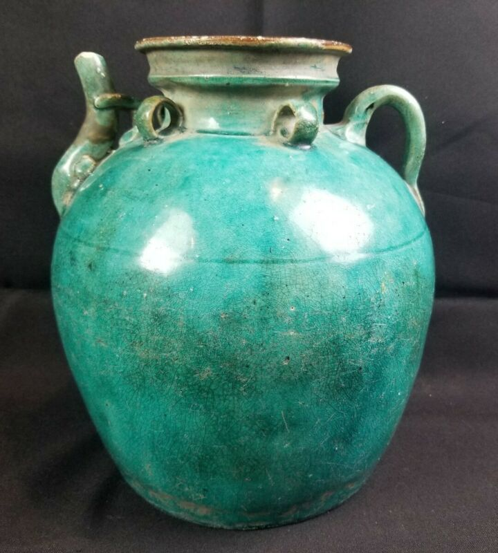 Antique Chinese Shiwan Turquoise Blue Glaze Wine Or Soy Jug Pot Ming-Qing