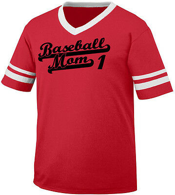 Baseball Mom 1 Parent Mother Child Kid Mommy Team Coach Men's V-Neck Ringer Tee ()