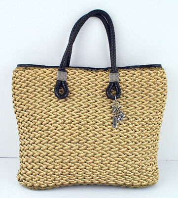BRIGHTON Woven Straw Soft Tote Charms Love Amore leather handles fabric lining ()