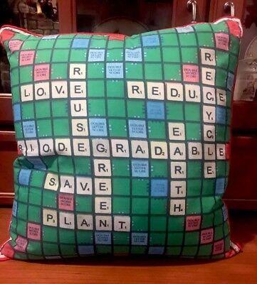 Scrabble Green Environment Conscious Recycle Eco Friendly Earth Throw Pillow ()