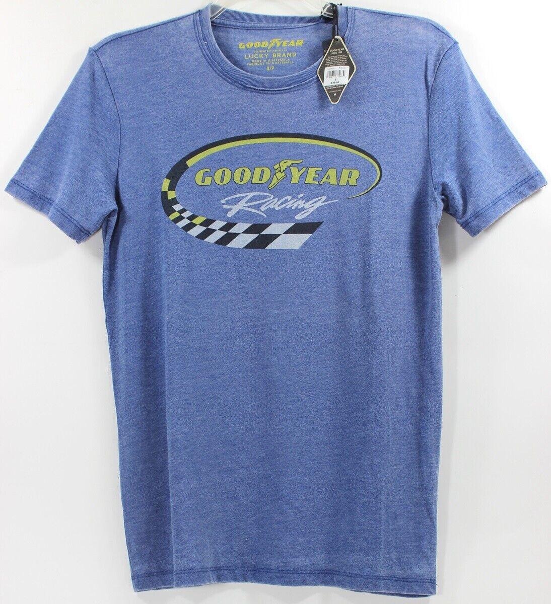 Lucky Brand Goodyear Racing Tires Blue T-Shirt Tee Car Cultu