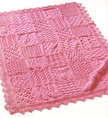 Showpiece Sampler Blanket or Throw Knit in Squares with Lacy Edge 4 Ply To Knit