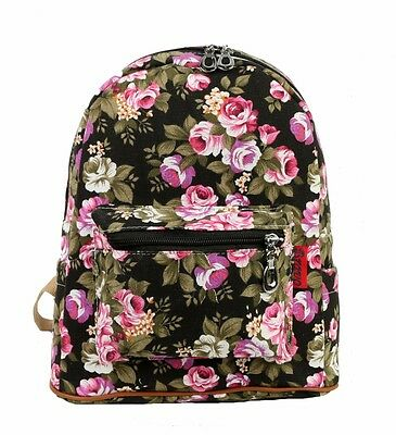 """New 12"""" Medium Shoulder Girls Women Best Backpack  Rose Flower Floral Black"""