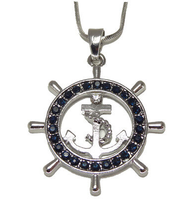 Silvertone Nautical Ship Wheel and Anchor Pendant Necklace Navy Blue Crystals ()