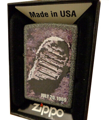 - ZIPPO MOON LANDING JULY 20 1969 NEIL ARMSTRONG FOOTPRINT LIGHTER MINT BOX GIFT