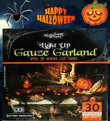 New Halloween Gauze Garland ORANGE Light Up Collection Battery Operated 30 LED