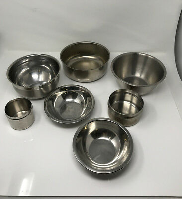 Stainless Steel Bowls Mixed Lot 7 Pieces Lab Surgeon Office Supplies