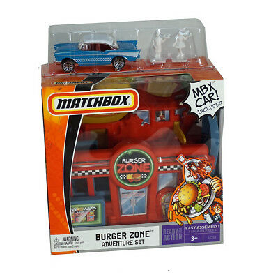Burger Zone Adventure Car Playset Plus Matchbox Car   Fast Food  Faster Cars