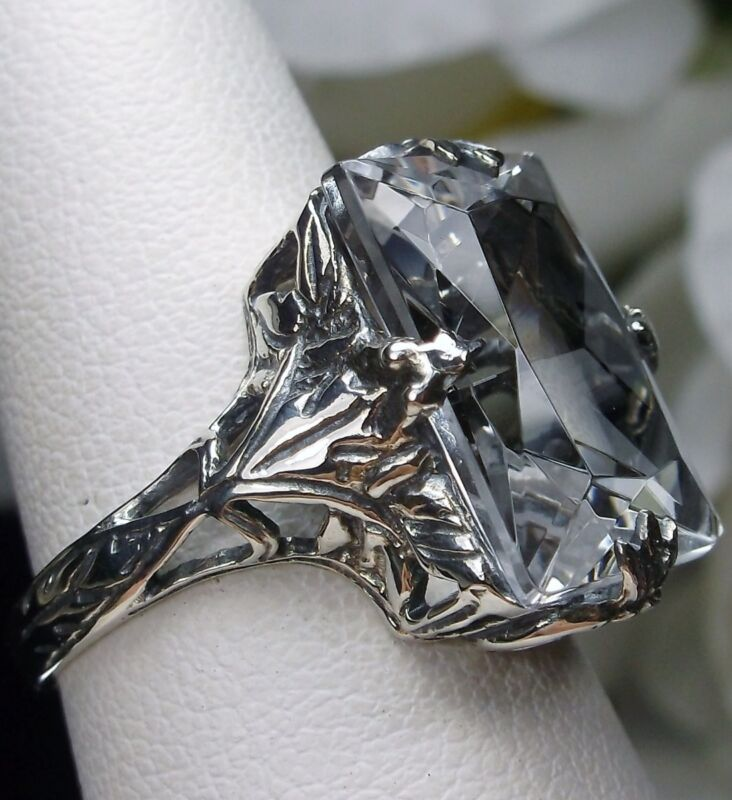 10ct Sim White Topaz Sterling Silver Art Deco Filigree Ring Size {Made To Order}