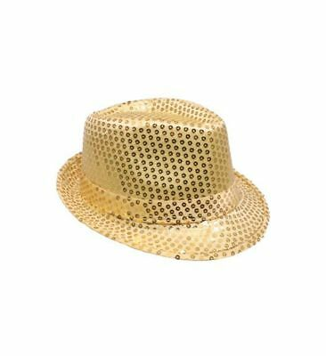 Mozlly Mozlly Glamorous Gold Sequin Fedora Hat Flashing Disco Retro Funky Glitte - Sequin Fedora