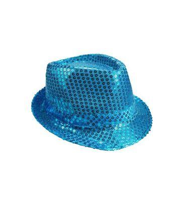 Mozlly Mozlly Glamorous Light Blue Sequin Fedora Hat Flashing Disco Retro - Light Blue Fedora