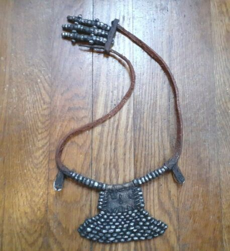 UNUSUAL LARGE ANTIQUE PATINA HANMADE AFRICAN TRIBAL NECKLACE LEATHER AND METAL