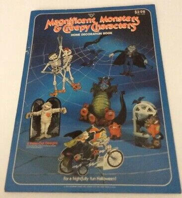 Vtg Ambassador Halloween Decoration Book MONSTERS CREEPY CHARACTERS Press-Out