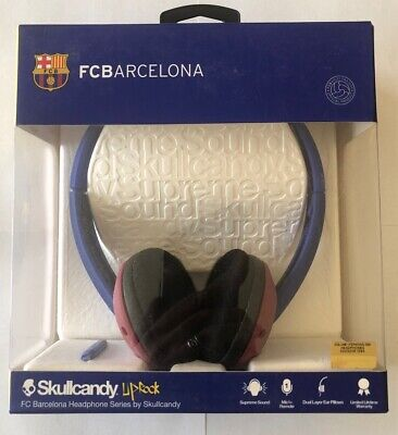 Rare Skullcandy Supreme Sound FC Barcelona Uprock Headphones with Mic