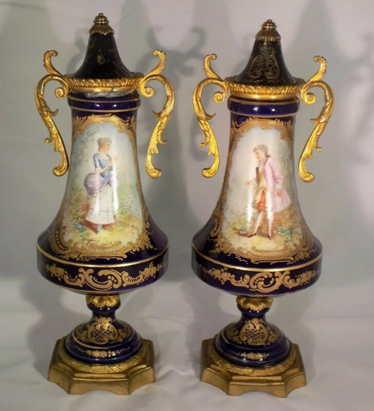 Pair of Old Paris Sevres Style Urns- Early 19th Century