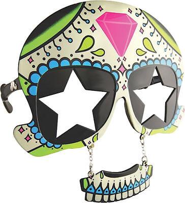 Morris Costumes Sunstache Plastic Halloween Sugar Skull Glasses One Size. SG1587