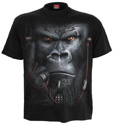 SPIRAL DEVOLUTION FRONT PRINT BLACK T-Shirt/Gorilla/Music/Goth/Monkey/Dark/Top/T