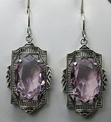 Oval *Pink Topaz* Art Deco Sterling Silver 925 Filigree Earrings {Made to Order}