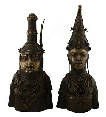 Bronze Benin Couple Royal -. Bini Edo-Oba-Nigeria Art African -1220