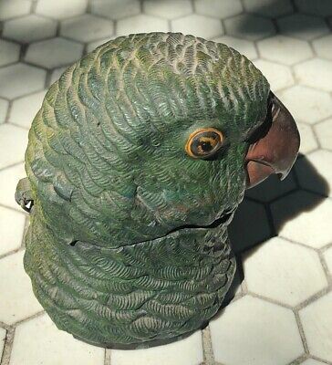 ANTIQUE PARROT INKWELL  FIGURAL