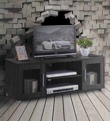 (Hodedah TV Stand with 2 Transparent Doors for Cabinet Storage & One Shelf, Black)