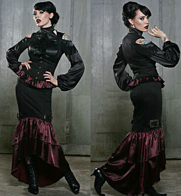 LIP SERVICE LONG RUFFLE BROCADE SKIRT VICTORIAN BURLESQUE STEAMPUNK GOTHIC XS Clothing, Shoes & Accessories