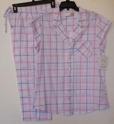 Eileen West Pink Purple Plaid 100% Cotton Swiss Capri Pajamas Pajama Set XL NWT  ()