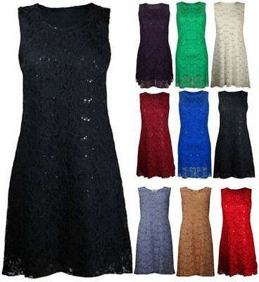 New Womens Ladies Plus Size Floral Lace Lined Sequin Evening Dress 12-26