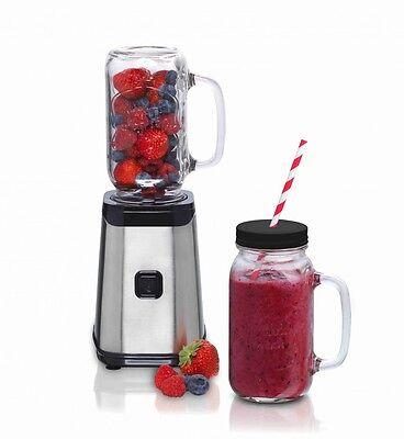 Mason Jar Mixer 16180118 Smoothie-Standmixer 320 Watt mit 3 x Trink-Glas 500 ml
