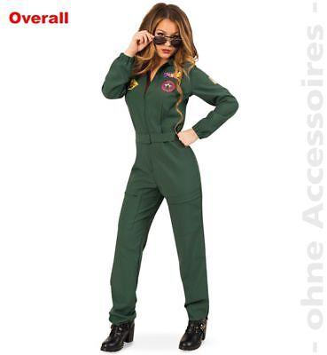 Fri -Damen Kostüm Kampfpilotin Overall Karneval Fasching
