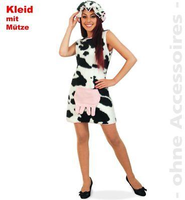 Fri -Damen Kostüm Kuh Kleid weiß-schwarz Karneval Fasching - Weibliche Kuh Kostüm