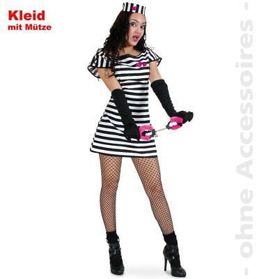 Fri -Damen Kostüm sexy Sträfling Kleid Mütze Karneval Fasching - Sträfling Kostüm Weiblich