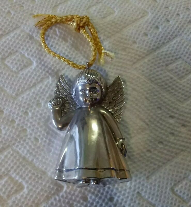 VINTAGE RM TRUSH STERLING SILVER PUFFY ANGEL CHRISTMAS ORNAMENT OPEN WING