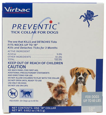"Preventic tick Collar for Dogs 18"" Protects up to 3 Months up to 60Lbs"