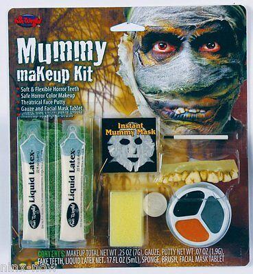 Mummy Halloween Makeup Gauze 3 colour Kit and Teeth Fancy Dress Halloween Makeup (Halloween Mummy Makeup)