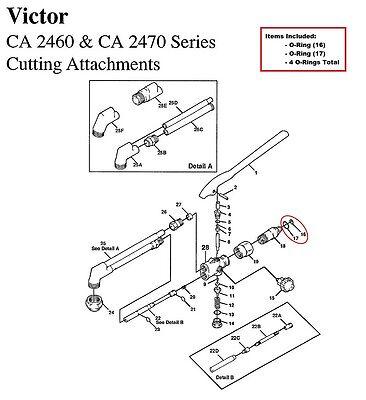 Victor Ca1050 Ca1060 Ca2460 Ca2470 Cutting Torch O-ring Rebuildrepair Kit
