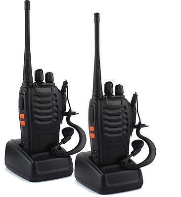 Alles 2X UHF 400-470MHz 3W 16CH Single Band W Earpiece 2 Way Radio Walkie Talkie
