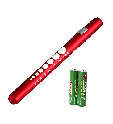 Red Reusable Nurse Aluminum Penlight Pocket Medical Led Pupil Gaugebatteries