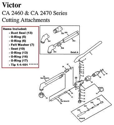 Victor Ca2460 Ca2470 Cutting Torch Rebuildrepair Parts Kit With 1-1-101 Tip