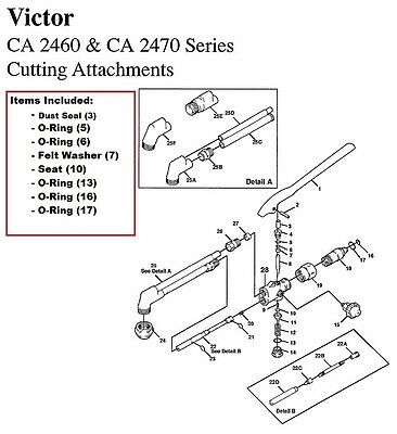 Victor Ca2460 Ca2470 Cutting Torch Rebuildrepair Parts Kit