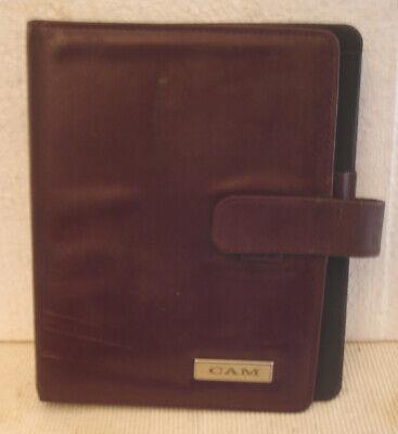 Vintage Day Timerburgundy Leather Planner Organizer With 7 Ring Binder