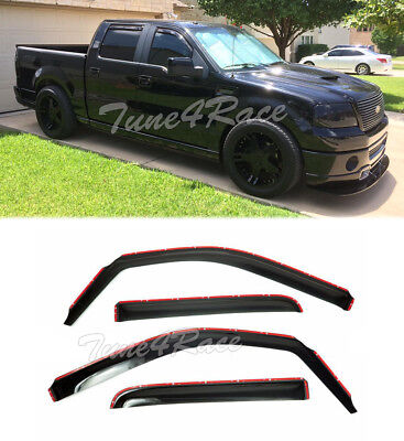 (For 09-14 Ford F150 Crew Cab Window Visors IN-CHANNEL Side Rain Guard Deflectors)