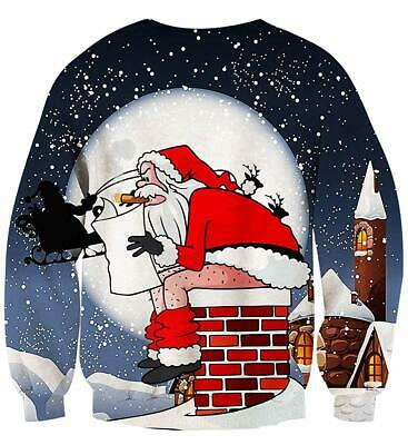 Mens Women 3D Print Funny Xmas Jumper Ugly Christmas Pullover Party Sweatshirts