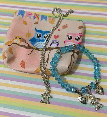 Fashion Jewelry Gift Set Baby Boy Mother Shower, Necklace Bracelet Pouch Bundle Baby Set Jewelry Set